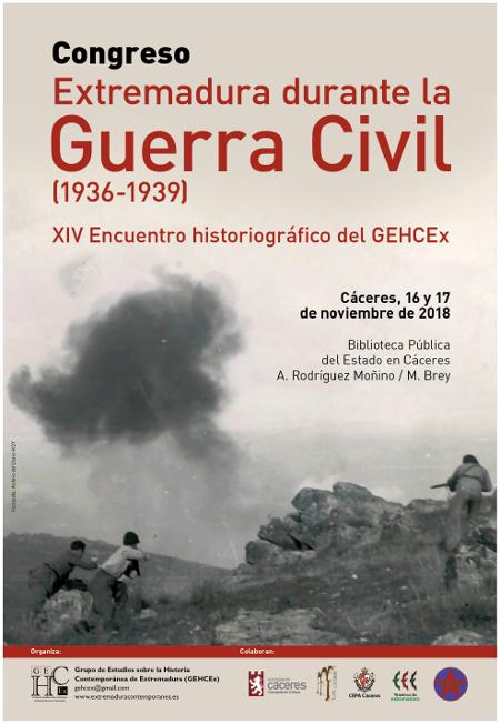 Cartel de Congreso Extremadura durante la Guerra Civil, organizado por el GEHCEx