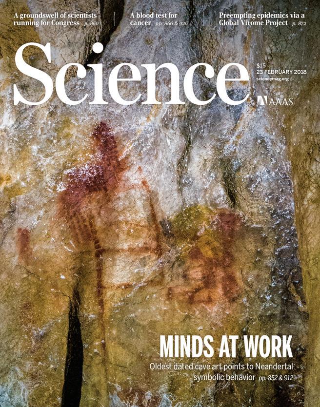 Portada de la revista Science, con el revolucionario estudio sobre la cronología de las pinturas de las cuevas de Maltravieso, Los Ardales y La Pasiega
