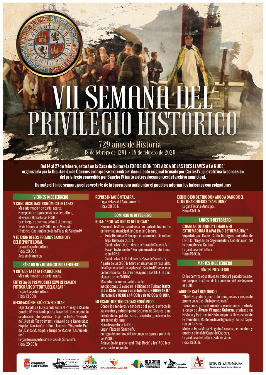 Cartel de la VII Semana del privilegio Histórico Sancho IV en Casar de Cáceres